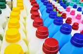 stock photo of detergent  - Many plastic detergent bottles  - JPG