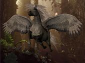 foto of pegasus  - A white Pegasus horse flies up to the sky through a dense forest - JPG