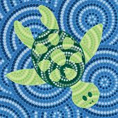 foto of aborigines  - Abstract Aboriginal turtle dot painting in vector format - JPG