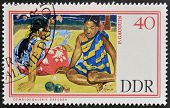 GERMANY - CIRCA 1967: A stamp printed in Germany shows Tahitian Beach by Paul Gauguin circa 1967