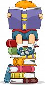 pic of bookworm  - Illustration of a Boy Reading a Book While Sitting on a Pile of Other Books - JPG