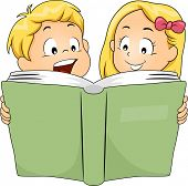 foto of bookworm  - Illustration of Siblings Reading a Book Together - JPG