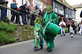 HASTINGS, ENGLAND - MAY 7: A drummer performs during a parade through the Old Town at the Jack In Th