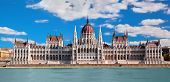 image of hungarian  - Hungarian parliament building by Danube river - JPG