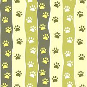 Cat or dog paw striped seamless pattern, vector