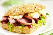 foto of smoked ham  - Fresh Homemade Smoked Turkey Sandwich - JPG