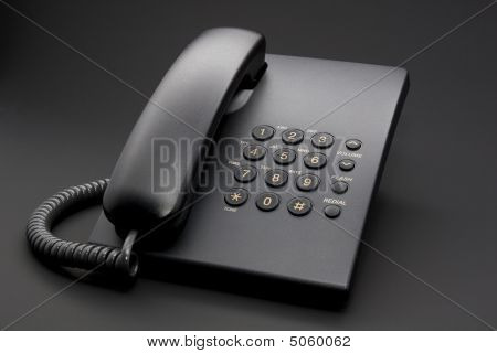 Black Office Phone On Black