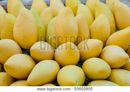 Pile Of Fresh Barracuda Mango On Sales In Thailand Open Market
