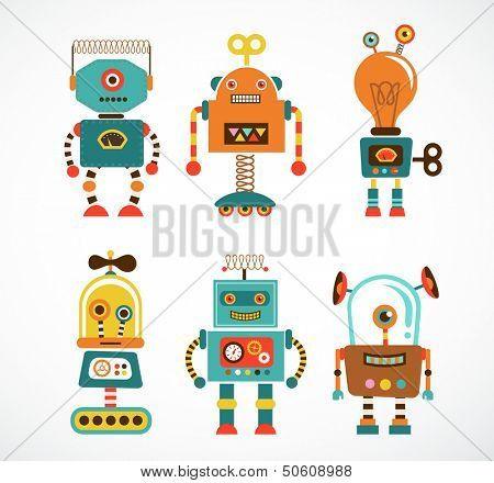 Set of cute vintage robots