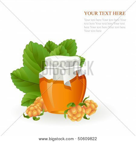Cloudberry jam jar with fresh berry
