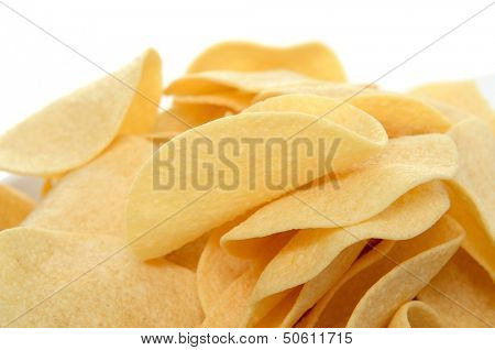 closeup of a pile of low fat potato chips