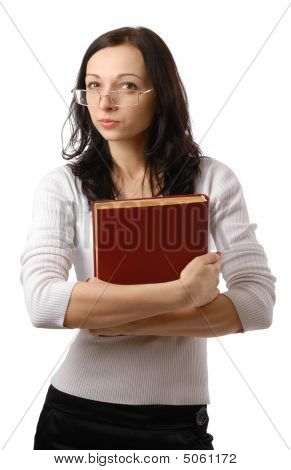 Cute Woman With Suspicious Look And Big Book