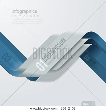 Infographics vector design template. Creative ribbon trendy style. Financial,  Business annual report. Cover Trend.