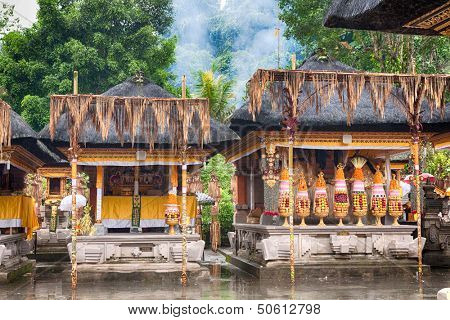 Hindu food offering in a Tampak Siring temple, Bali, Indonesia