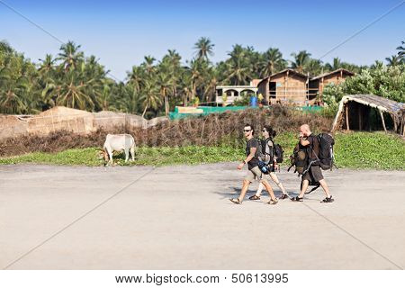Backpackers Walking