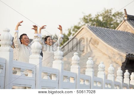 Two seniors practicing Taijiquan in Beijing