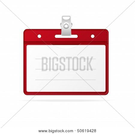 Blank ID (identification card ) Badge isolated red
