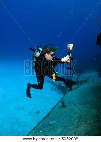 Professional Underwater Photographer Shooting Mv Tibbetts