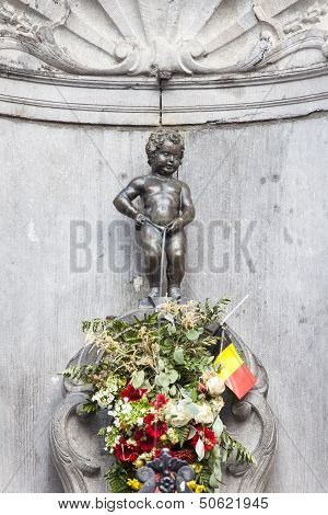 Manneken Pis Statue In The Centre Of Brussels.