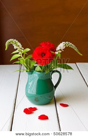 Stil Life With Summer Flowers In Vase.