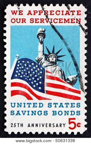 Postage Stamp Usa 1966 Statue Of Liberty And Old Glory
