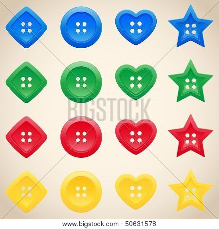 Set Of Buttons In Different Colors