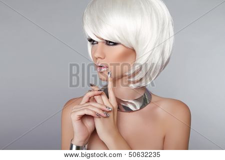 Fashion Beauty Girl. Blond Woman Portrait. Stylish Haircut And Makeup. Hairstyle. Make Up. White Sho