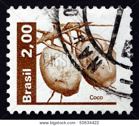 Postage Stamp Brazil 1982 Coconuts, Cocos Nucifera, Palm Tree