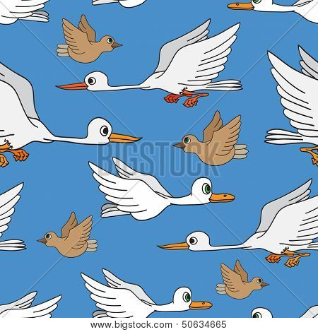 Seamless background. Birds flying in the sky.
