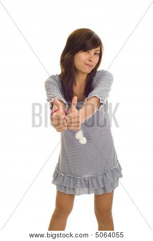 Asian Woman With Two Thumbs Up