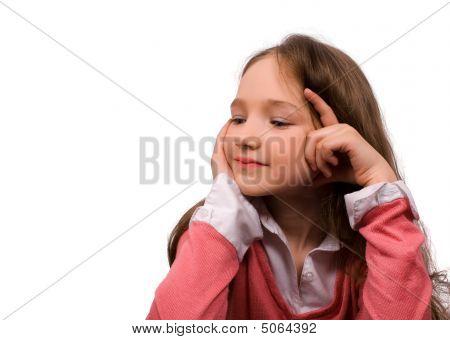 Boreing Little Girl Isolated
