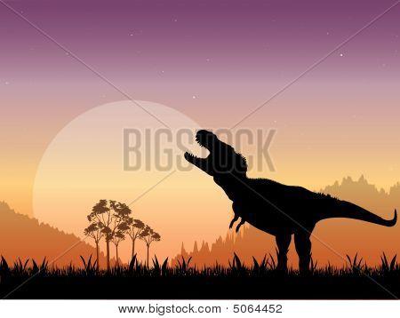 Prehistoric Tyrannosaurus Dinosaur Scene