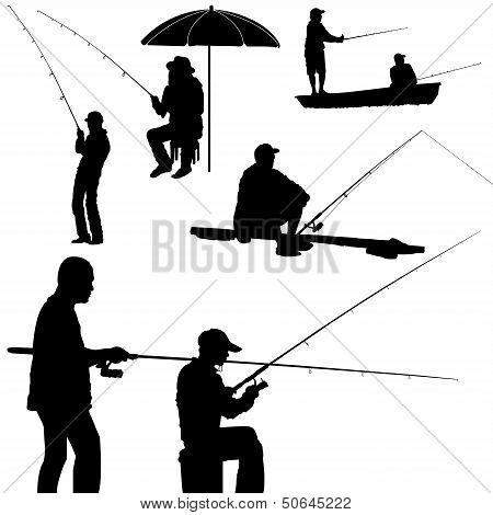 Fishing Man Silhouette Vector.eps