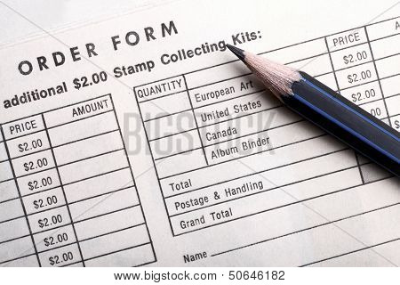 Vintage Order Form Stamp Collecting Kits.