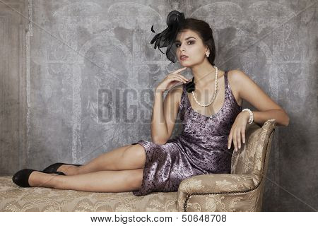 Retro Woman On Antique Couch