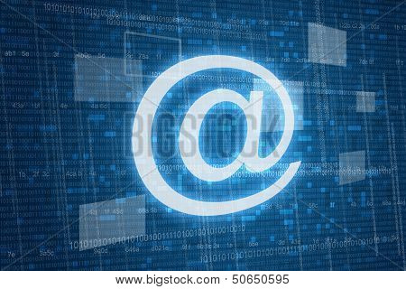 Arroba symbol on digital background