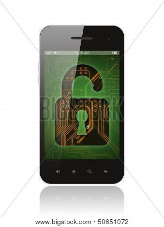 Smart phone with circuit background and lock