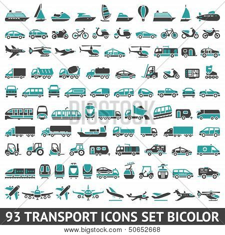 93 Transport icons set bicolor