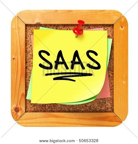 SAAS. Yellow Sticker on Bulletin.