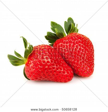 Two Fresh Strawberries Isolated On White