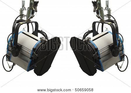Studio lighting stage equipment isolated over white