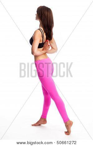 Pretty Woman In Yoga Pose - Reverse Pray Position.