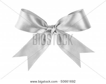 Silver Tied Festive Bow Made From Ribbon