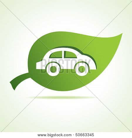 car icon at leaf stock vector