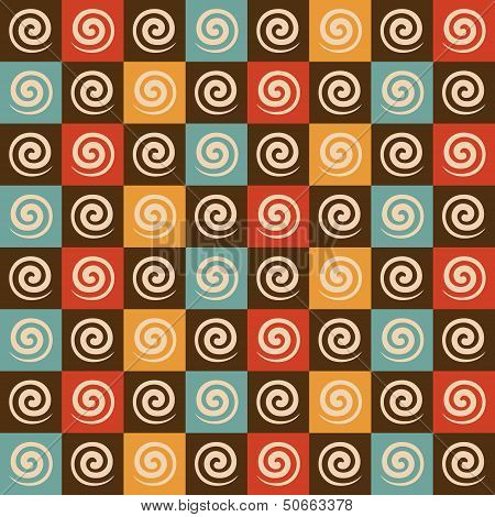 Retro spiral and square pattern background