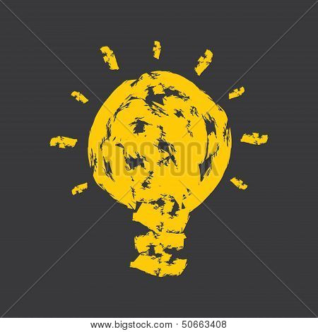 creative bulb with yellow paint strokes