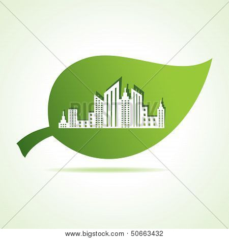 cityscape at leaf stock vector