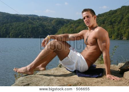 Muscular Teen At The Beach