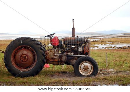 Rusty Tractor Along Coast