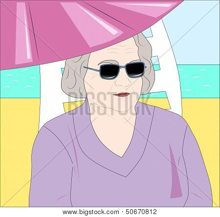 An Elderly Lady On Vacation